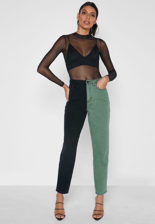 Colourblock Straight Jeans