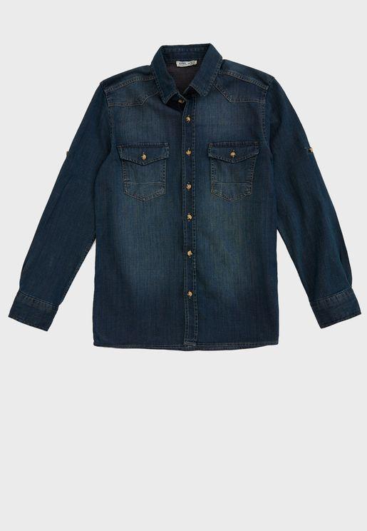 قميص جينز بأزرار