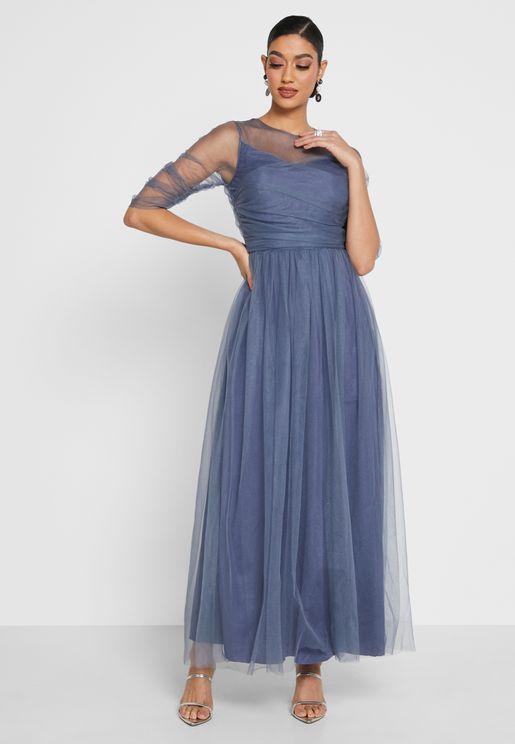Sweetheart Neck Tule Dress