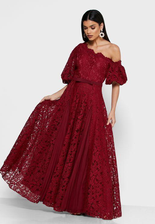 Asymmetric Shoulder Lace Dress