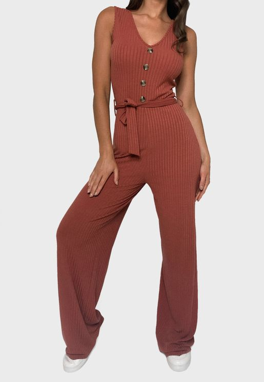 Ribbed Belted Jumpsuit