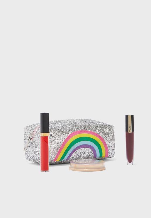 Rainbow Glitter Cosmetic Bag