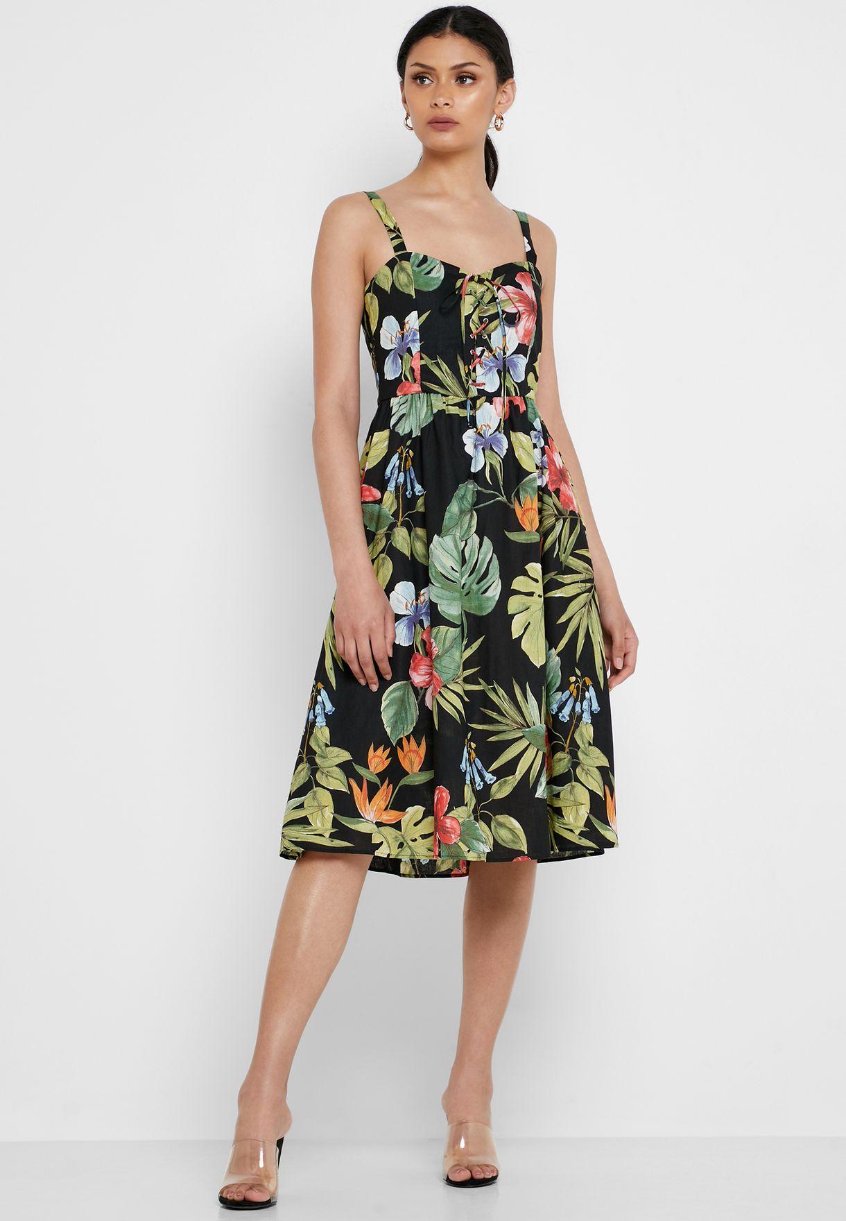 31a01309ea Shop Mango prints Floral Print Lace Up Dress 51000896 for Women in Bahrain  - 18840AT23DQP