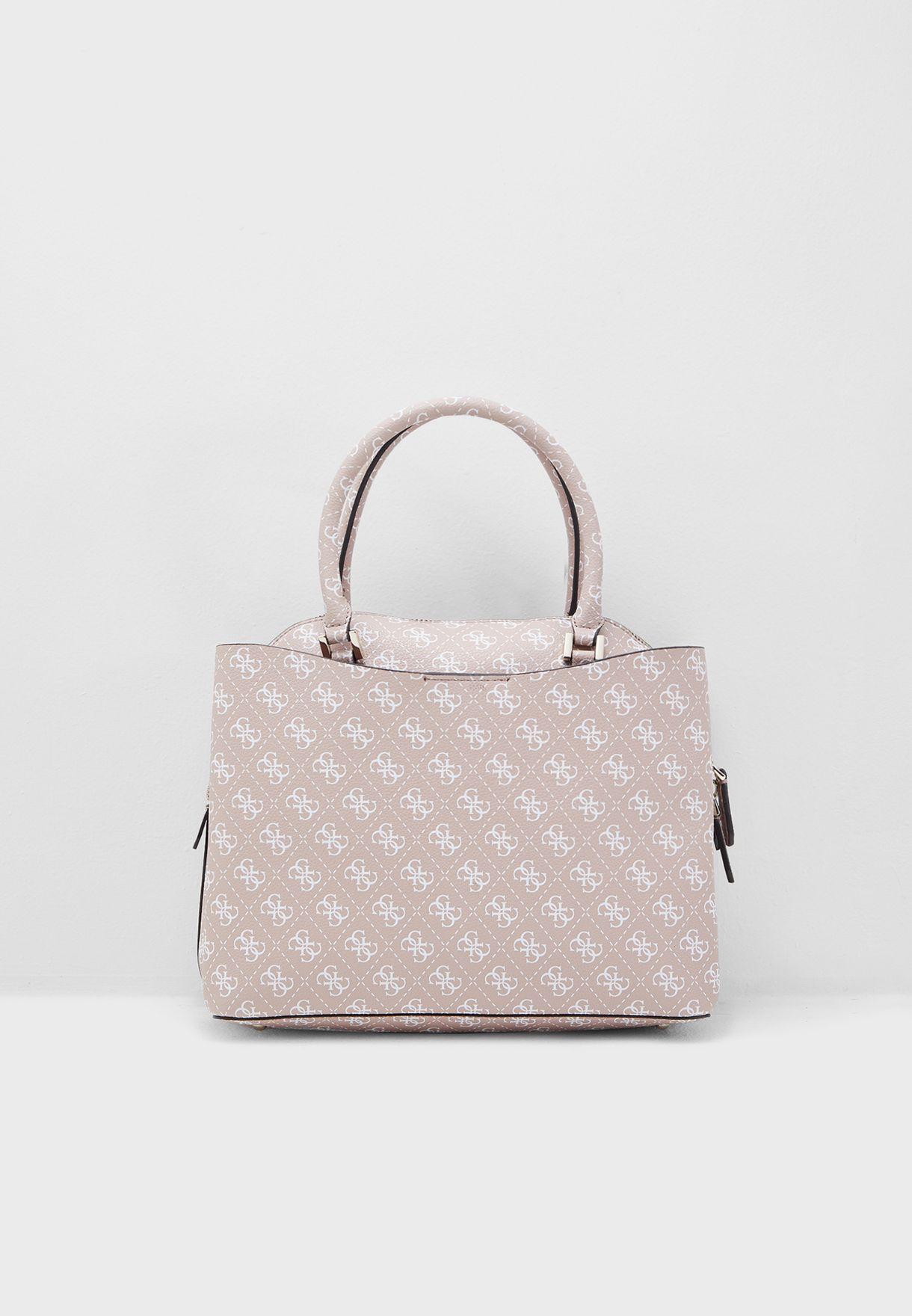 Shop Pink Guess Maci Large Girlfriend Satchel for Women | NISNASS UAE