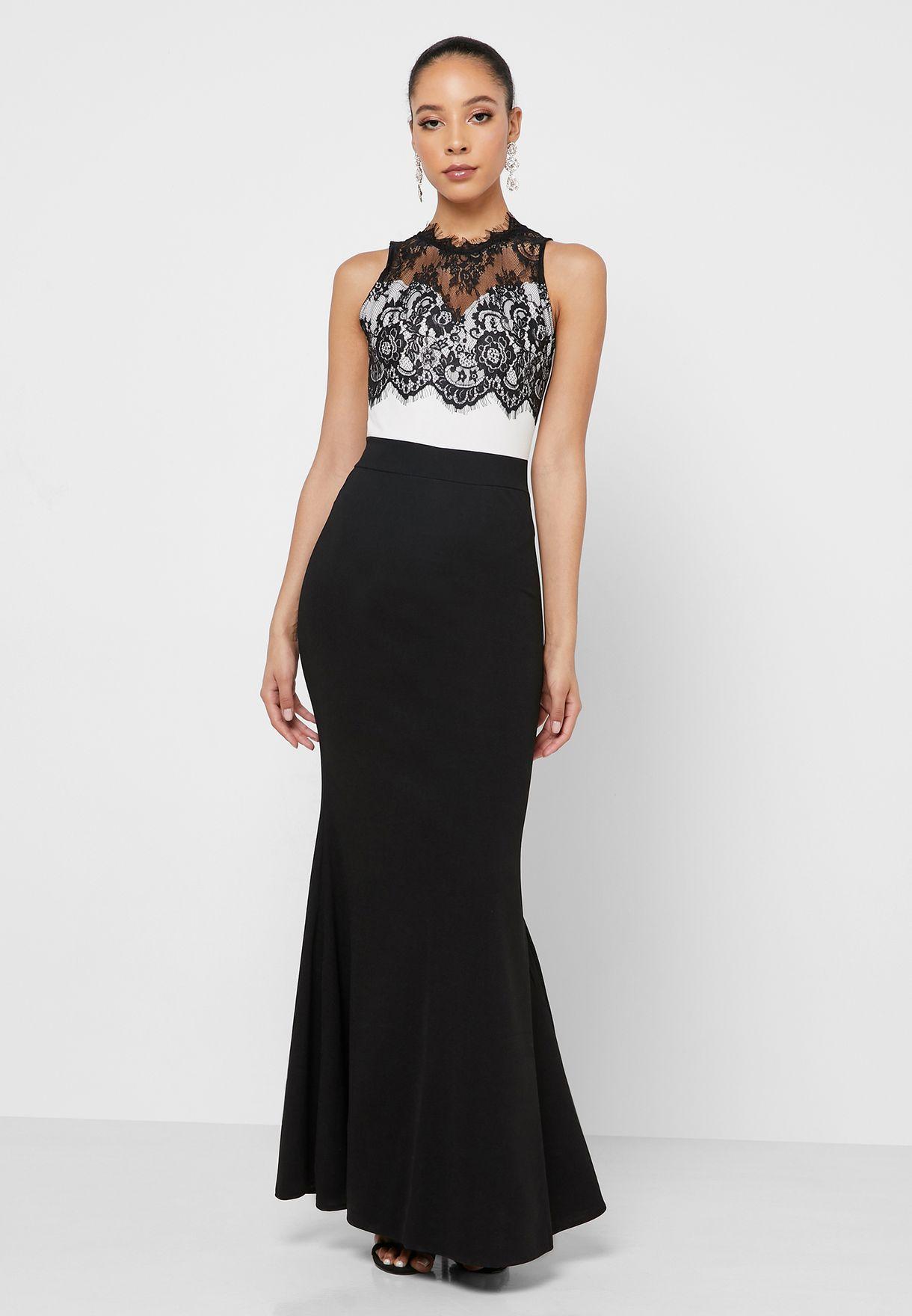 Lace Top Colourblock Maxi Dress