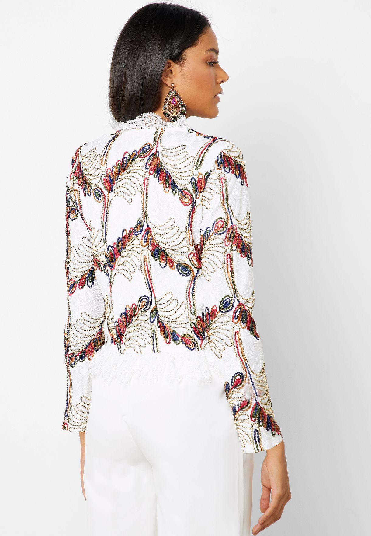 Embroidered Fringe Top