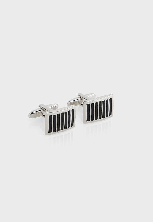 Stripe Detail Cufflinks In Giftbox