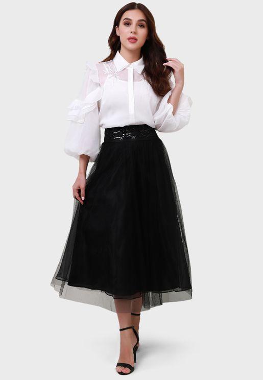 Mesh Detail High Waist Skirt