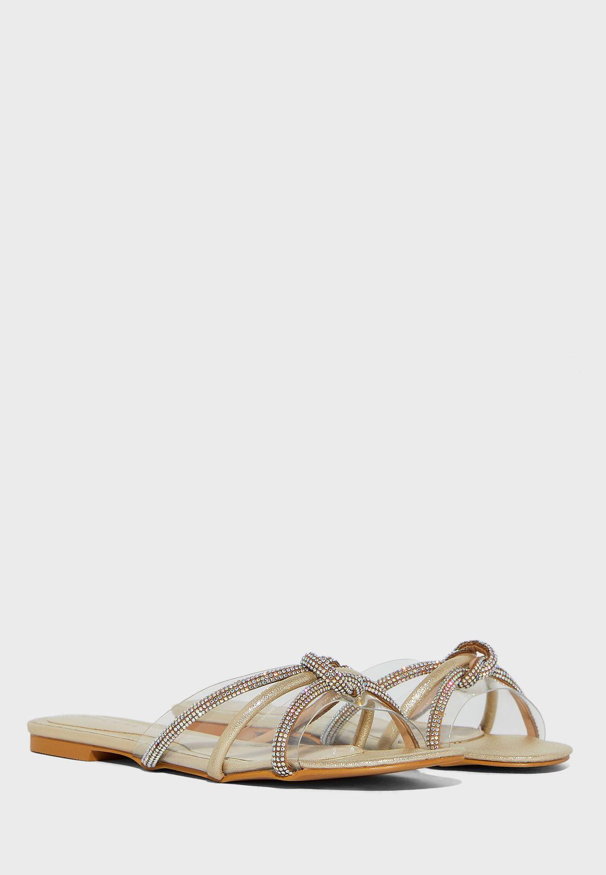 Clear Diamante Knot Trim Flat Sandals