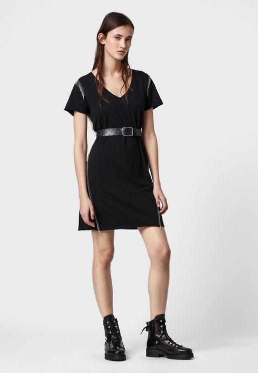 Emelyn V-Neck T-Shirt Dress