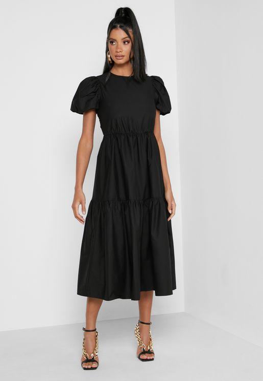 Tie Back Puff Sleeve Midaxi Smock Dress