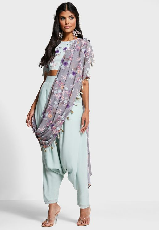 Indya X Payal Singhal Mint Dhoti Pants with Attached Floral Dupatta