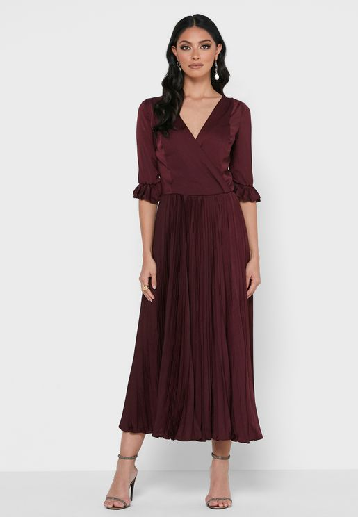 Slik Pleated Dress