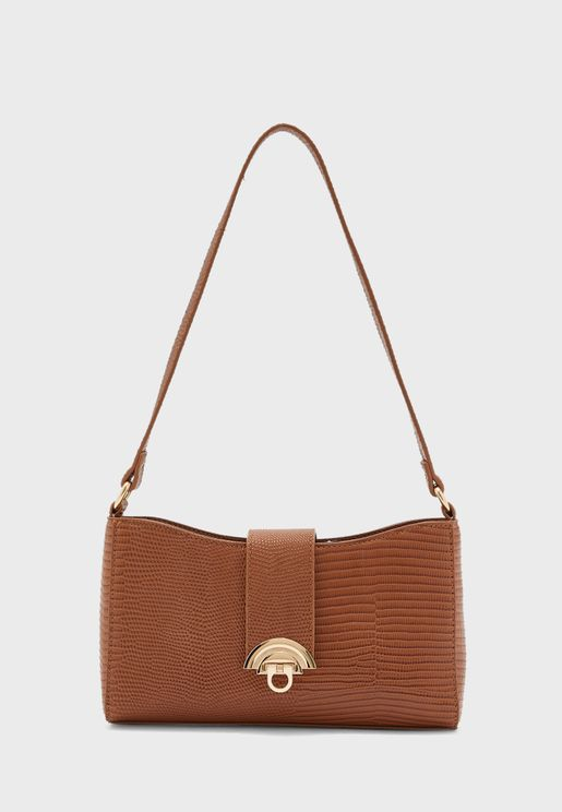 Lizard Texture Shoulder Baguette Bag