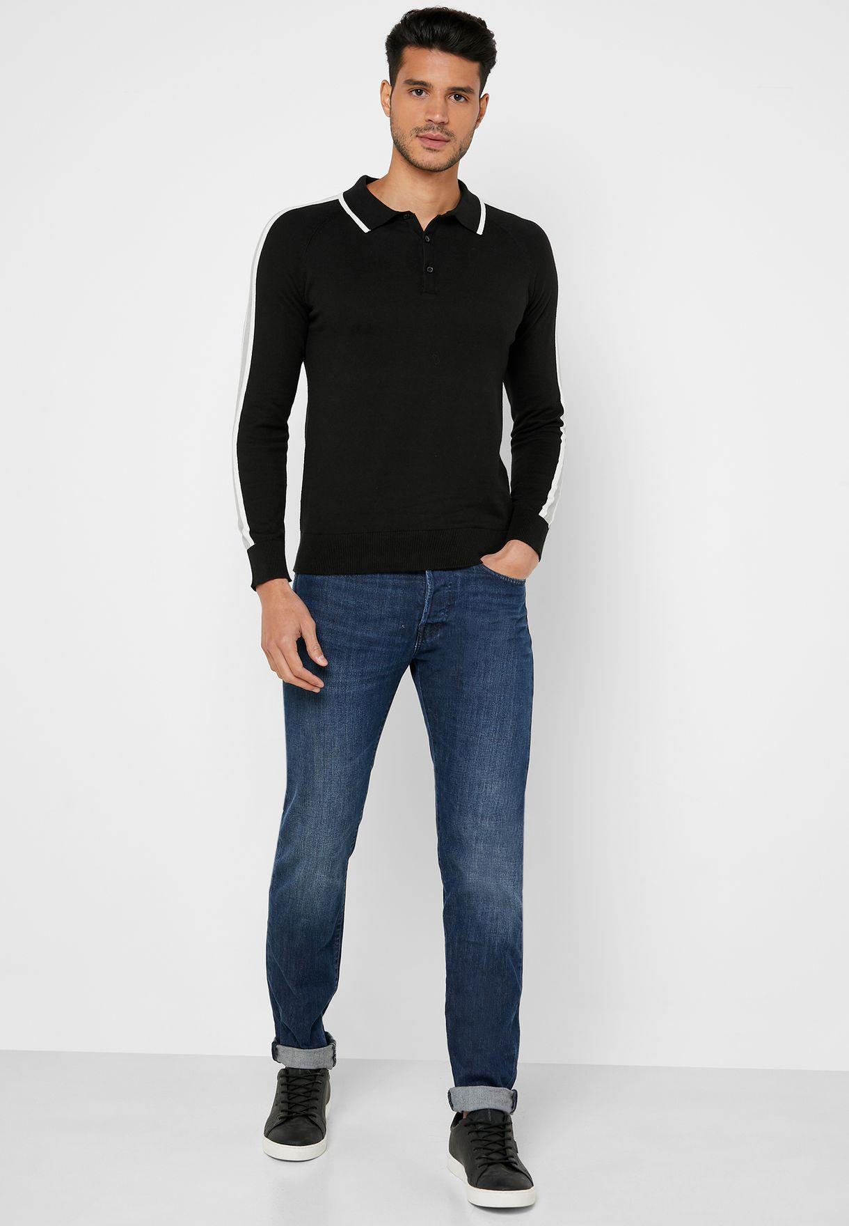 Arm Stripe Knit Sweater