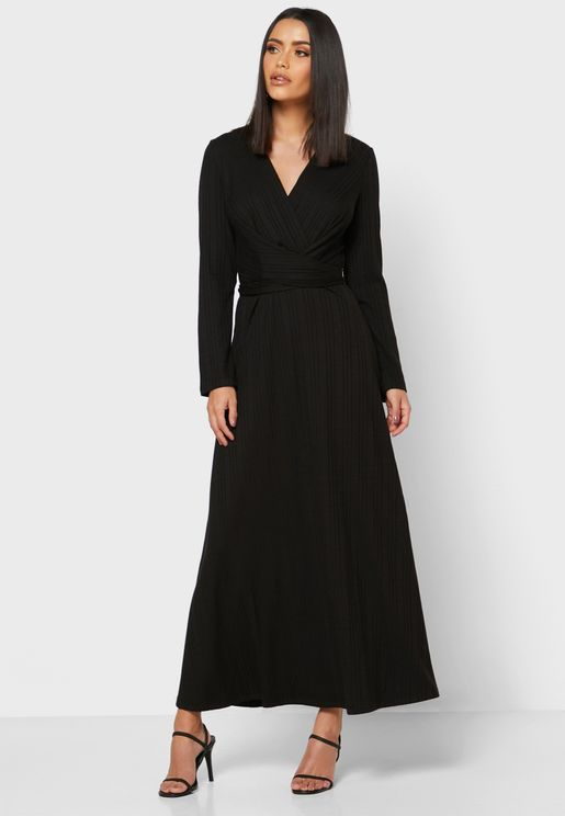 Textured Wrap Front Midi Dress
