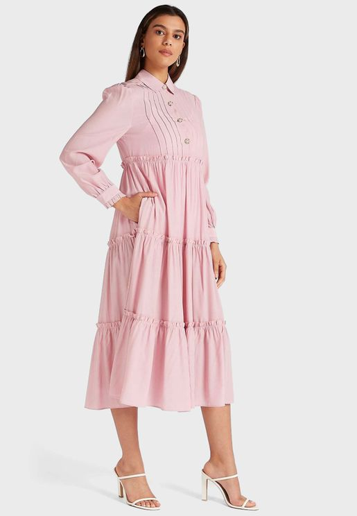 Half Button Detail Midi Shirt Dress