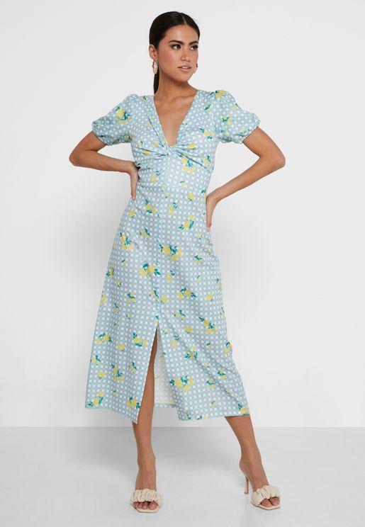 Twist Front Floral Dress