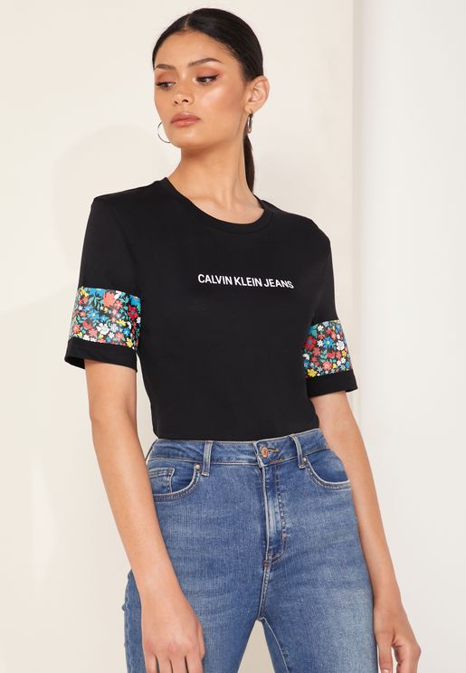 Floral Print Logo T-Shirt