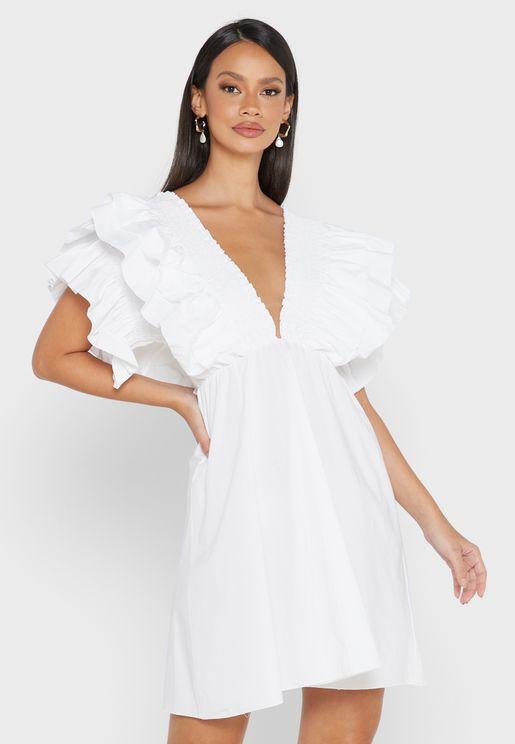 White Cotton Shirred Plunge Ruffle Sleeve Skater Dress