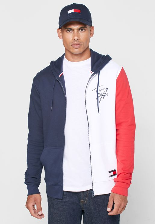 Color Block Zip Through Hoodie