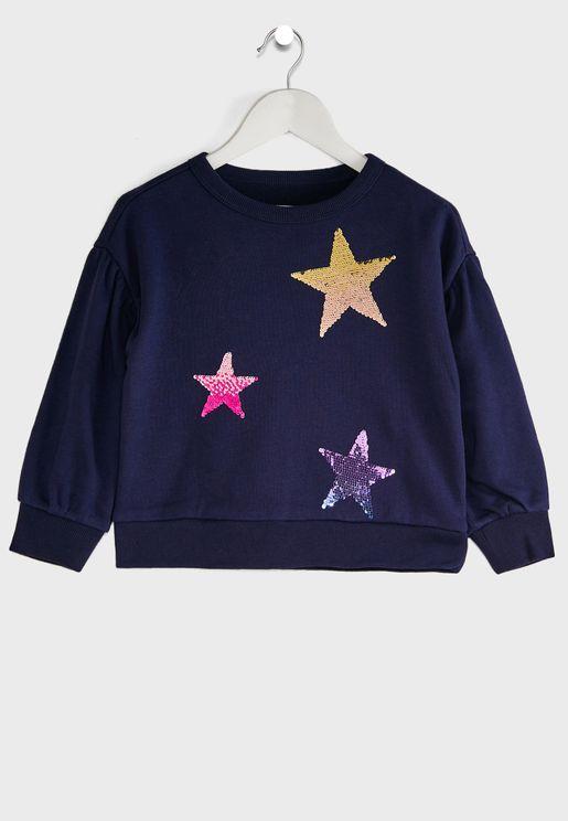 Kids Sequin Star Sweatshirt