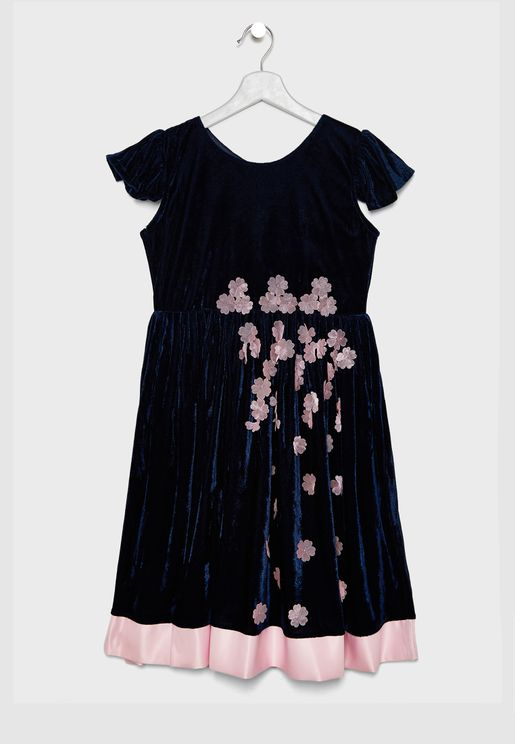 Flower Applique Velvet Dress