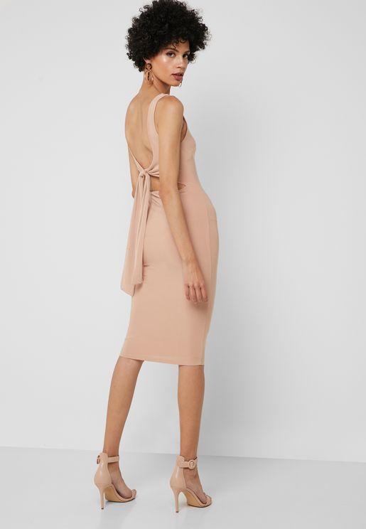 Back Tie Bodycon Dress