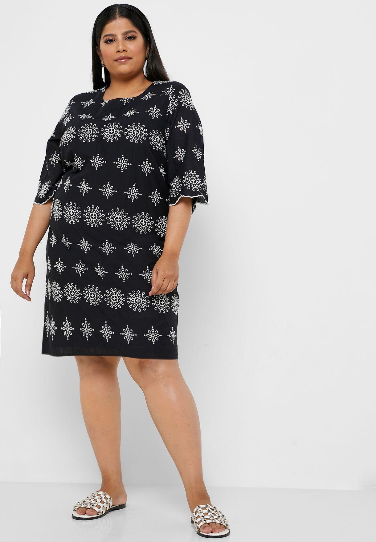 Brodierie Sheer Detail Dress
