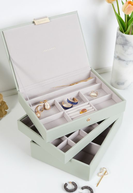 Sage Green Classic 3 Layer Jewellery Box