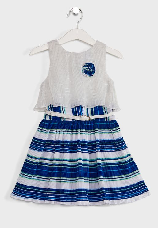 Striped Accordion Pleat Layer A-Line Dress With Belt