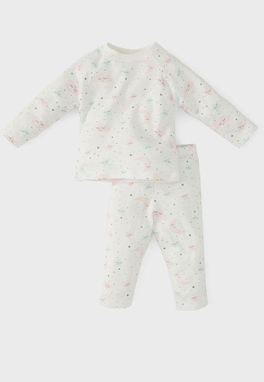 Infant Cloud Print T-Shirt + Sweatpants Set