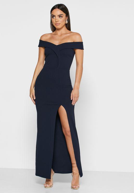 Front Split Bardot Dress