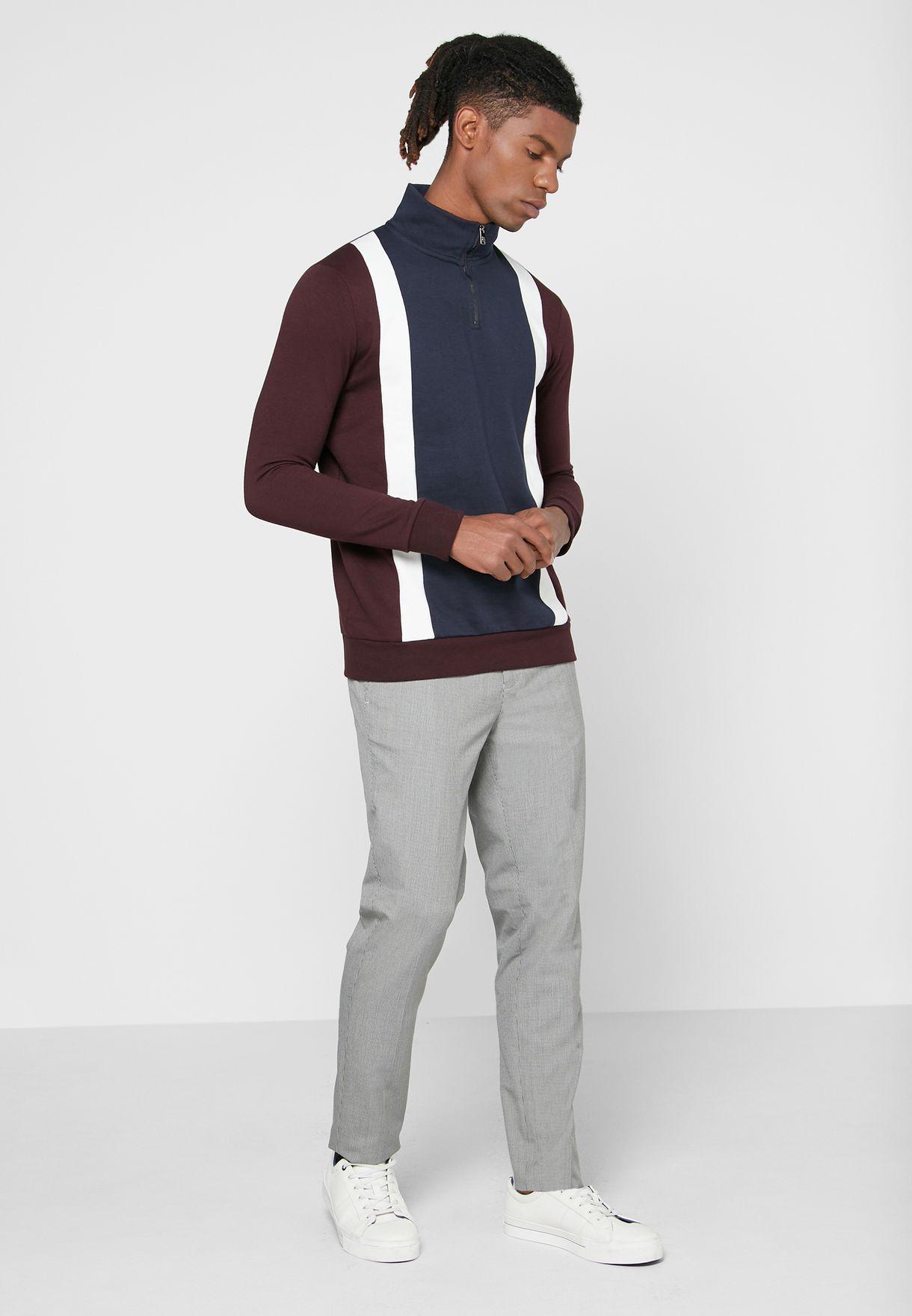 Color Block Half Zip Sweatshirt