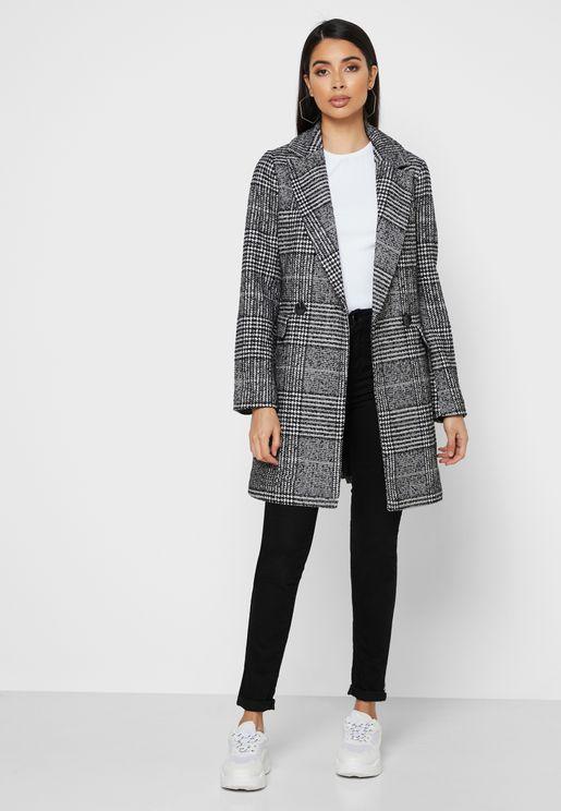 معطف مزين بطباعة مربعات