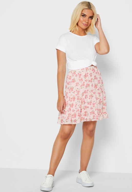 Floral Print Tiered Mini Skirt