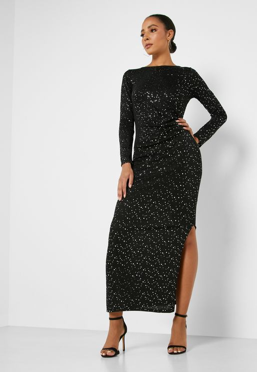 Front Split Sequin Dress