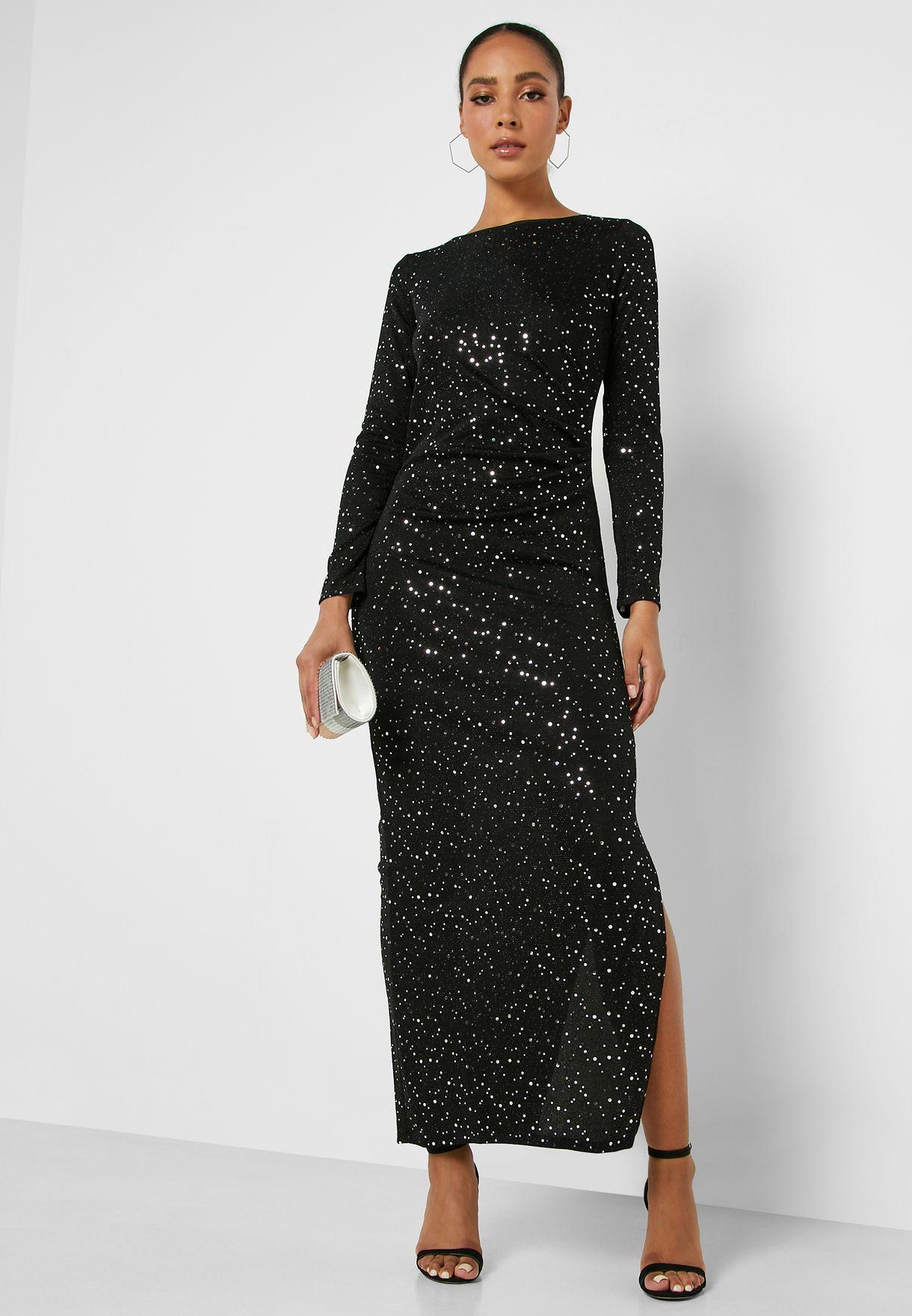 Front Split Sequin Dress