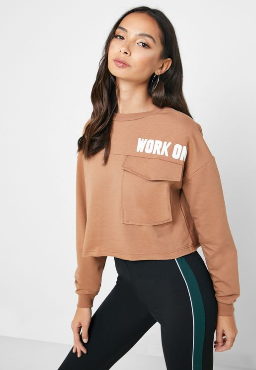 Slogan Detail Pocket Sweatshirt