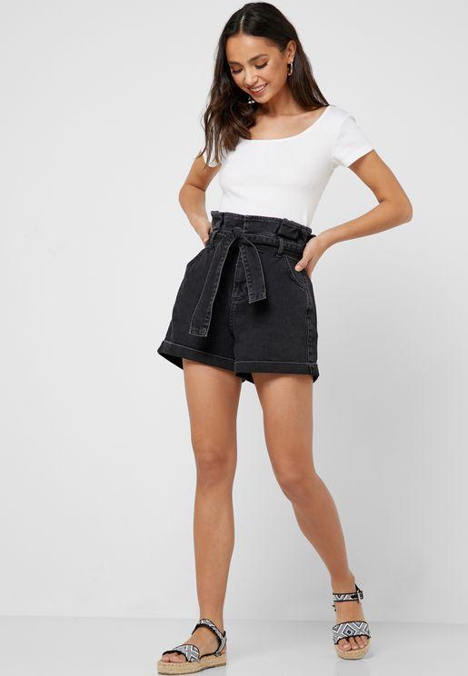 Belted Paper Bag Denim Shorts