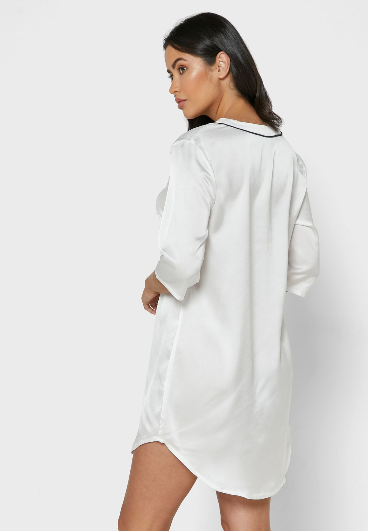 Contrast Piping Satin Shirt Nightdress