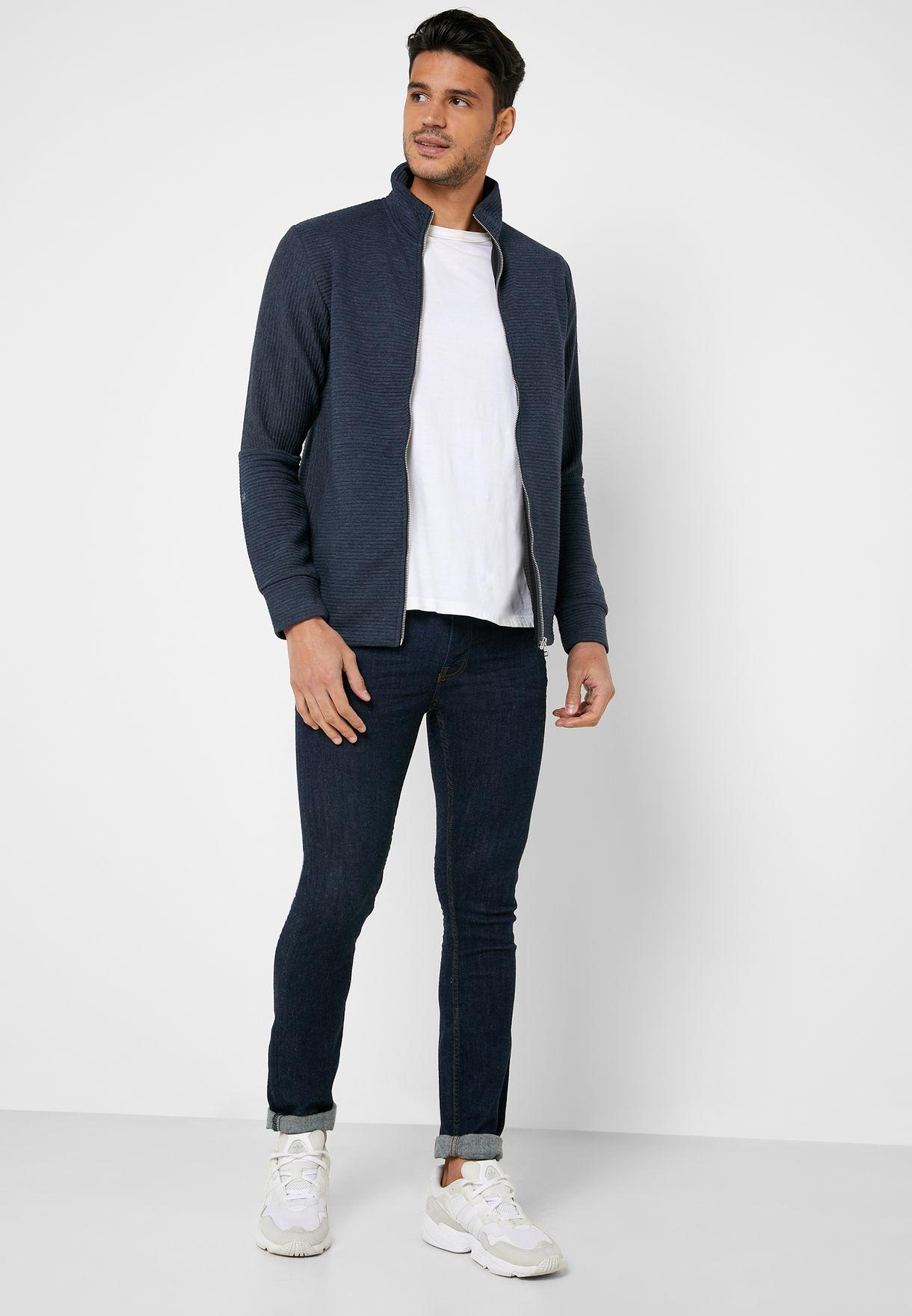 Nolan Zip Through Slim Fit Sweatshirt