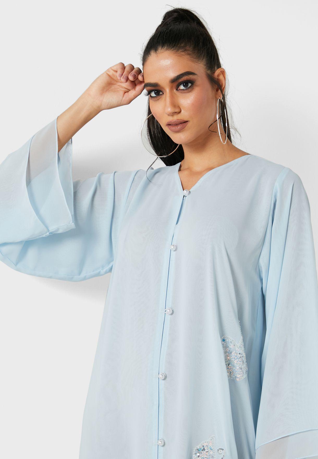 Embellished Button Detail Abaya