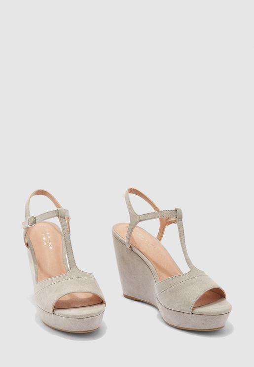 Ankle Strap High Heel Wedge Sandal - grey
