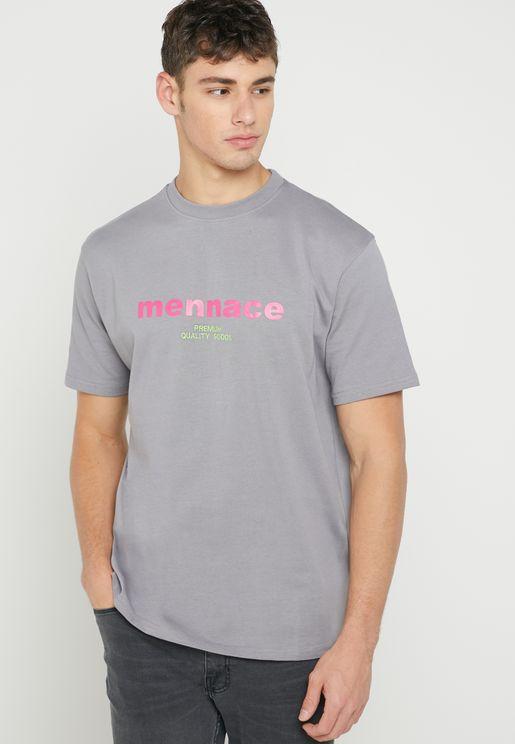 Mixed Font Crew Neck T-Shirt