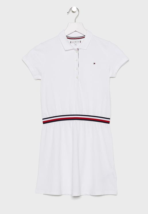 Little Stripe Detail Polo Dress