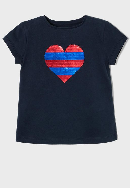 Kids Sequin Heart T-Shirt