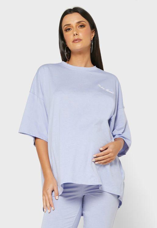 Baby Mama Embroidered Slogan T-Shirt