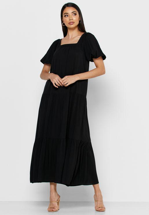 Square  Neck Tiered Hem Dress