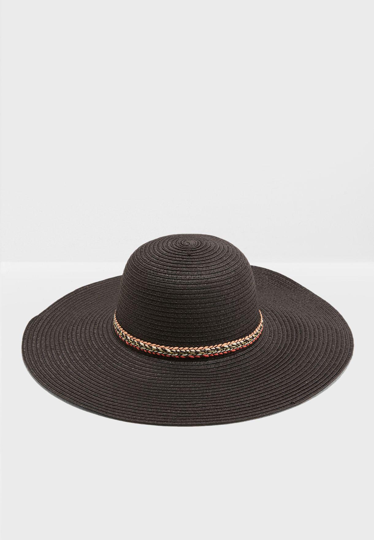fa1fdcb075d062 Shop Ginger black Band Detail Wide Brim Straw Hat LS19206 for Women ...